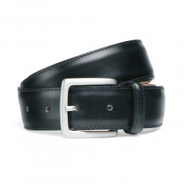 Black Calf Stitched Belt with Silver Buckle