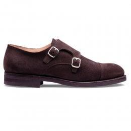 Swinley Double Buckle Monk Shoe in Brown Eco Suede