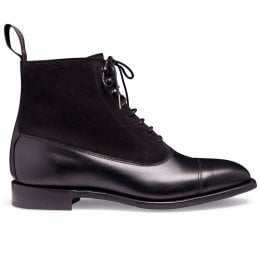 Anna D+ Ladies Balmoral Boot in Black Calf Leather/Black Suede