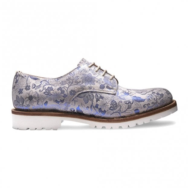 Cheaney Ada Derby Shoe in White/Metallic Blue Floral Suede