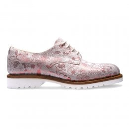 Ada Derby Shoe in White/Metallic Red Floral Suede
