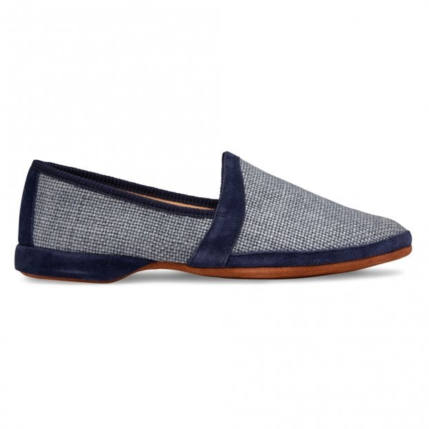 Cheaney Albert House Slipper in Denim Suede/Check Fabric