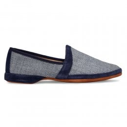 Albert House Slipper in Denim Suede/Check Fabric