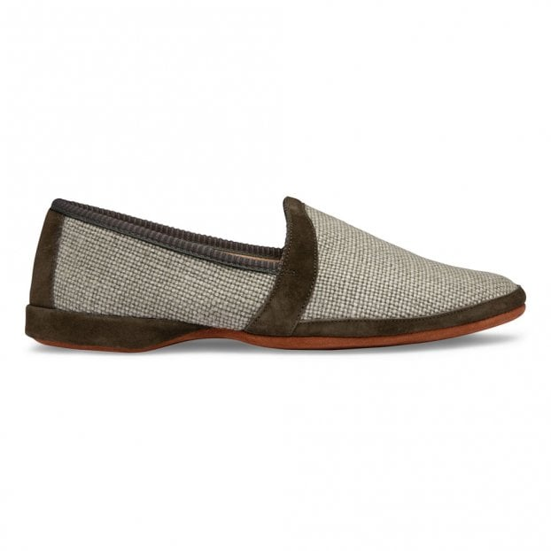 Cheaney Albert House Slipper in Sage Suede/Linen Check Fabric