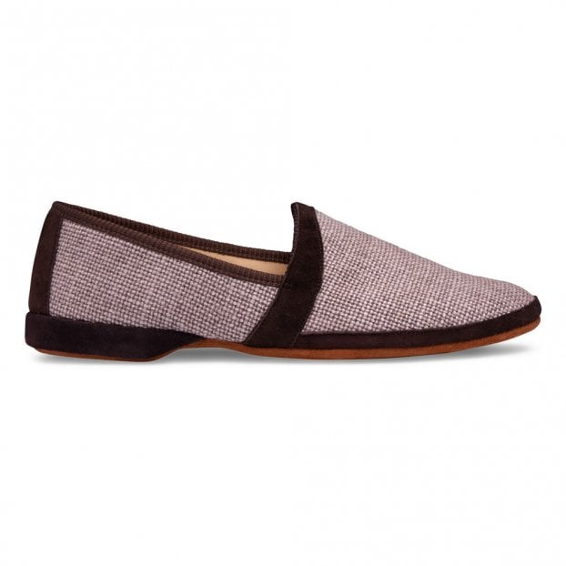 Cheaney Albert House Slipper in Truffle Suede/Check Fabric