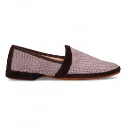 Albert House Slipper in Truffle Suede/Check Fabric
