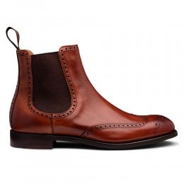 Albert II D Brogue Chelsea Boot in Dark Leaf Calf Leather