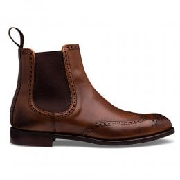 Albert II D Brogue Chelsea Boot in Mahogany Polo Calf Leather