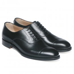 Alfred D Capped Oxford in Black Calf Leather | Diamond Rubber Sole