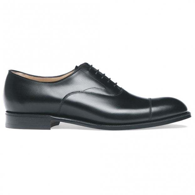 Cheaney Alfred D Capped Oxford in Black Calf Leather | Diamond Rubber Sole