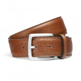 Almond Grain Belt with Silver Buckle