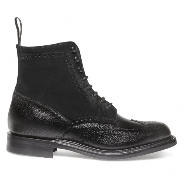 Cheaney Amelia R Fur Lined Wingcap Brogue Boot in Black Grain Leather/Black Suede