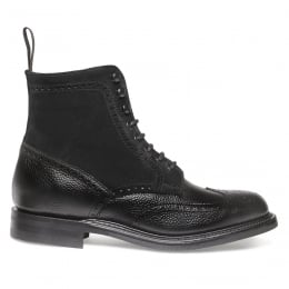 Amelia R Fur Lined Wingcap Brogue Boot in Black Grain Leather/Black Suede