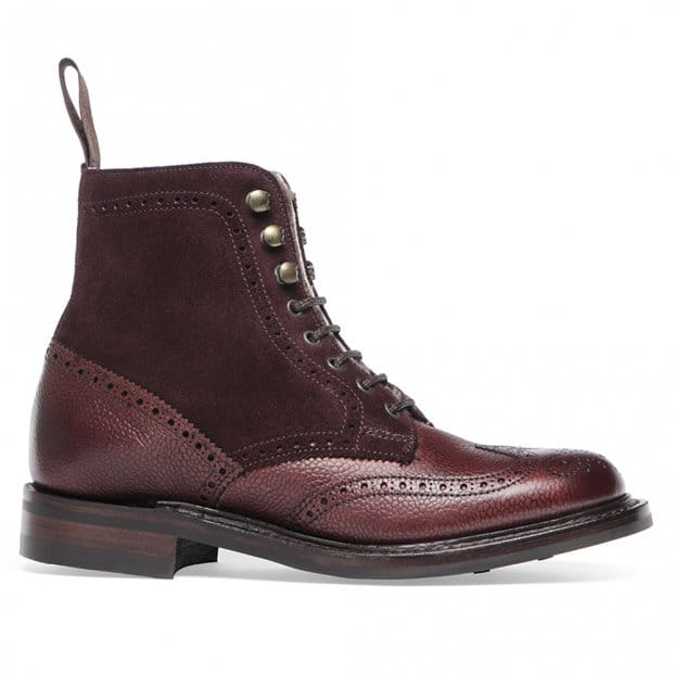 Cheaney Amelia R Fur Lined Wingcap Brogue Boot in Burgundy Grain Leather/Plum Suede