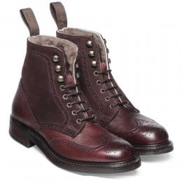 Amelia R Ladies Fur Lined Country Boot in Burgundy Grain Leather/Plum Suede