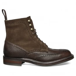 Amelia R Ladies Fur Lined Wincap Brogue Boot in Walnut Grain Leather/Plough Suede