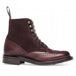 Amelia R Ladies Fur Lined Wingcap Brogue Boot in Burgundy Grain Leather/Plum Suede