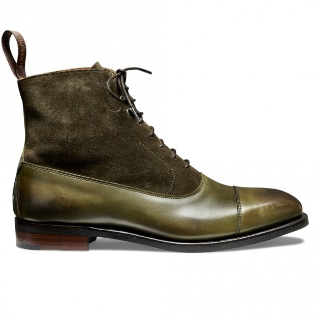 Cheaney Anna D+ Balmoral Boot in Burnished Olive/Khaki Suede
