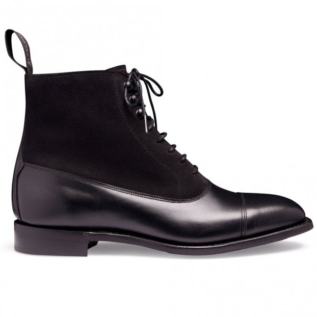 Cheaney Anna D+ Ladies Balmoral Boot in Black Calf Leather/Black Suede