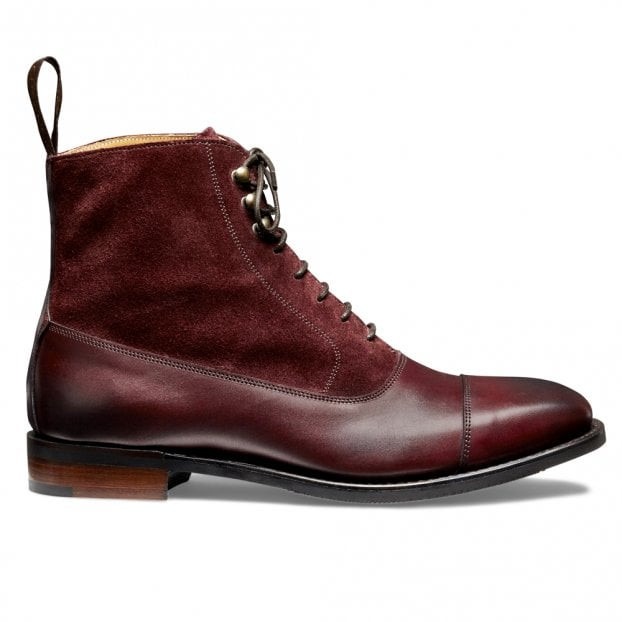 Cheaney Anna D+ Ladies Balmoral Boot in Burnished Burgundy/Plum Suede