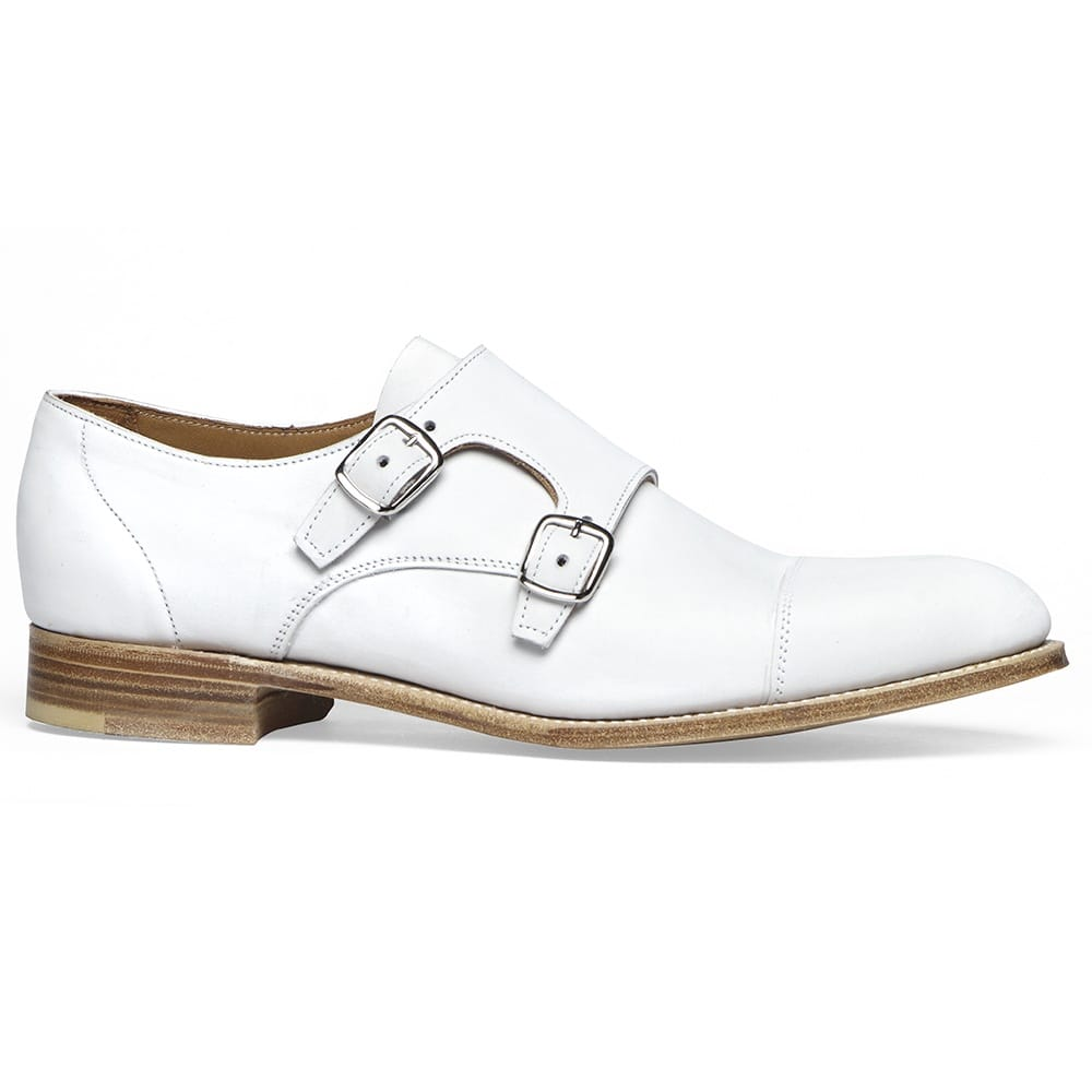 White Double Buckle Monk Shoes