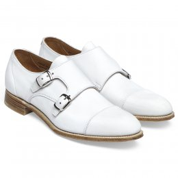 Annie Ladies Double Buckle Monk Shoe in White Nubuck