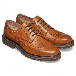 Arden GV Wingcap Perforated Brogue in Chestnut Calf Leather