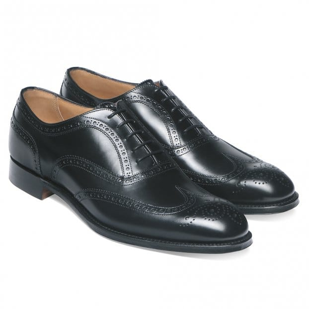 Cheaney Arthur III D Brogue in Black Calf Leather | Diamond Rubber Sole