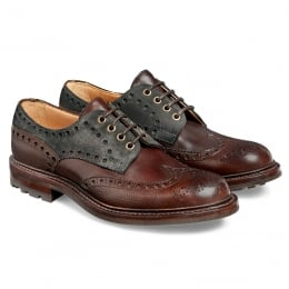 Avon B Wingcap Country Brogue in Walnut Grain/Mocha/Khaki Suede