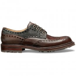 Avon B Wingcap Derby Brogue in Walnut Grain/Mocha/Khaki Suede
