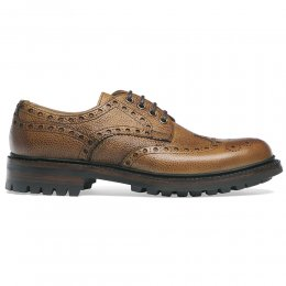 Avon C Wingcap Derby Brogue in Almond Grain Leather