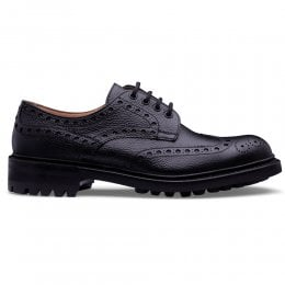 Avon C Wingcap Derby Brogue in Black Grain Leather