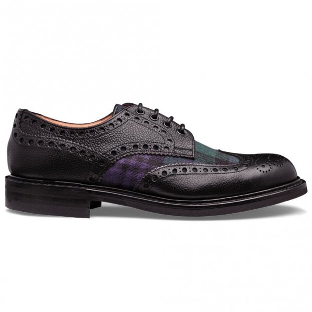 Cheaney Avon R Wingcap Derby Brogue in Black Grain Calf Leather/Black Watch Fabric