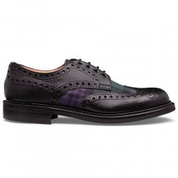 Avon R Wingcap Derby Brogue in Black Grain Calf Leather/Black Watch Fabric