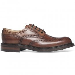 Avon R Wingcap Derby Brogue in Dark Leaf Calf Leather | Dainite Rubber Sole