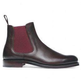 Barnes II Chelsea Boot in Walnut Grain Leather/Burgundy Elastic