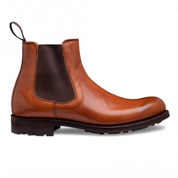 Cheaney Barnes III B Chelsea Boot in Burnished Chestnut Calf Leather
