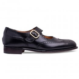 Beatrice Mary Jane Brogue in Black Calf Leather