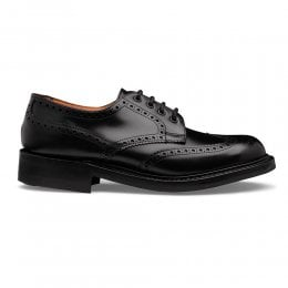 Beccles R Derby Brogue in Black Calf Leather