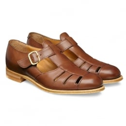 Belle Ladies T-Bar Sandal in Burnished Conker Calf Leather