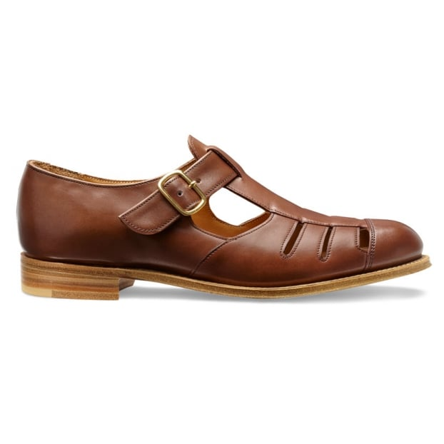 Cheaney Belle Ladies T-Bar Sandal in Burnished Conker Calf Leather