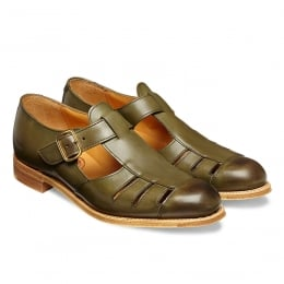 Belle Ladies T-Bar Sandal in Burnished Olive Calf Leather