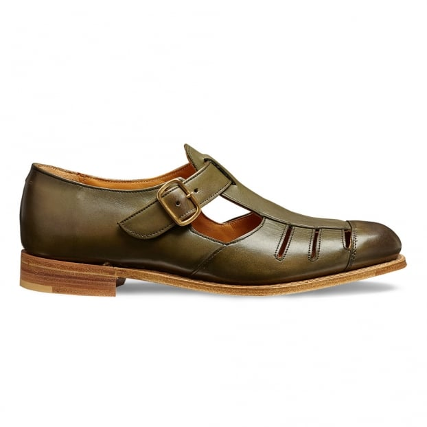 Cheaney Belle Ladies T-Bar Sandal in Burnished Olive Calf Leather