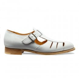 Belle Ladies T-Bar Sandal in White Nubuck Suede