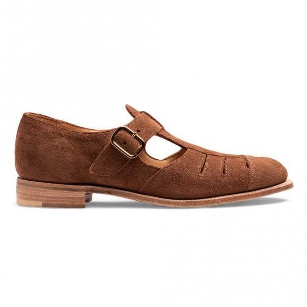Cheaney Belle T-Bar Sandal in Fox Suede