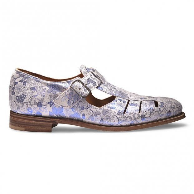 Cheaney Belle T-Bar Sandal in White/Blue Metallic Floral Print Suede