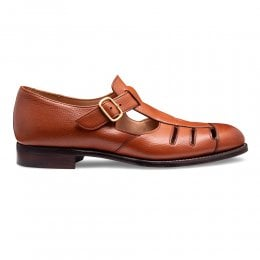Bertie ll T-Bar Sandal in Mahogany Jupiter Grain Calf Leather