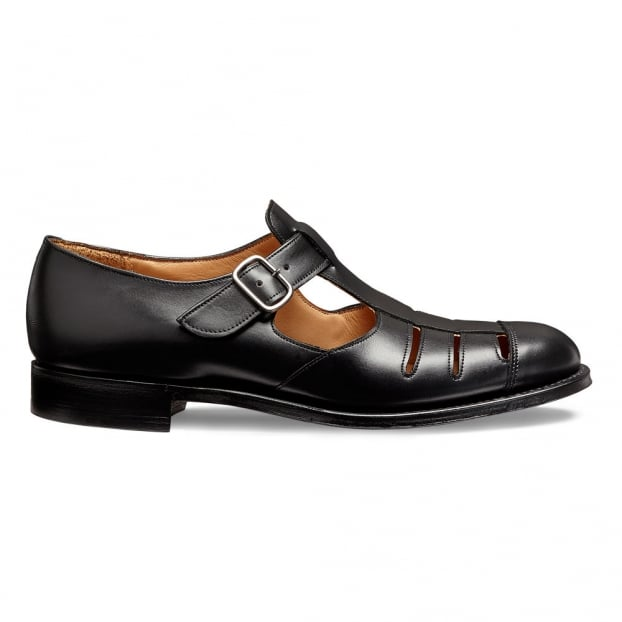 Cheaney Bertie T-Bar Sandal in Black Calf Leather