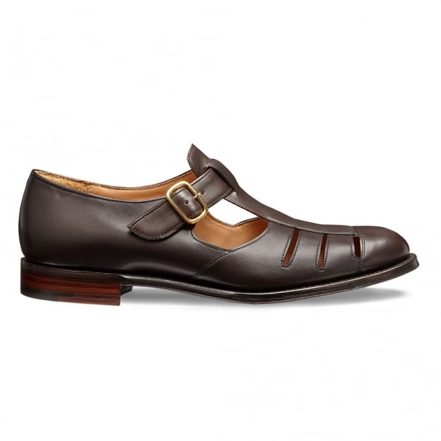 Cheaney Bertie T-Bar Sandal in Mocha Calf Leather