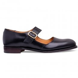 Beth Mary Jane Shoe in Black Calf Leather